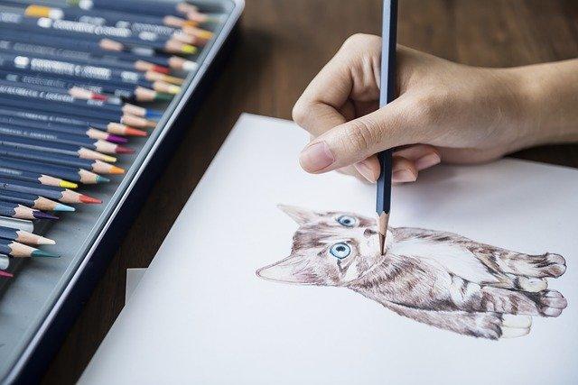 malovaná kočka